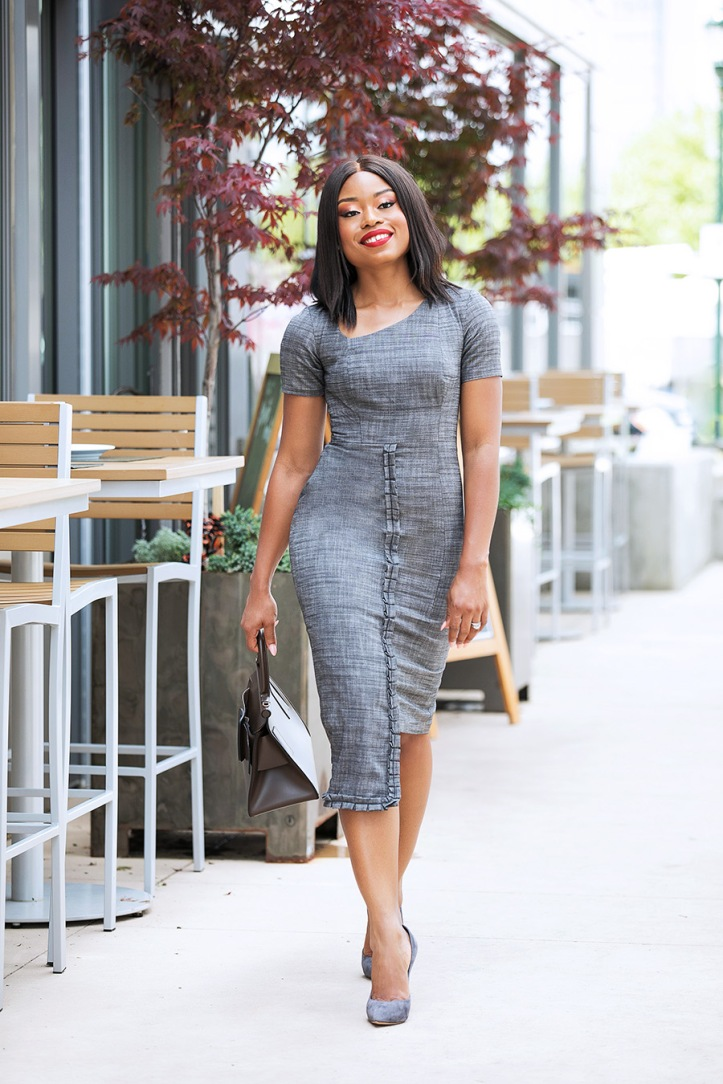 work chic, grey pencil dress, www.jadore-fashion.com